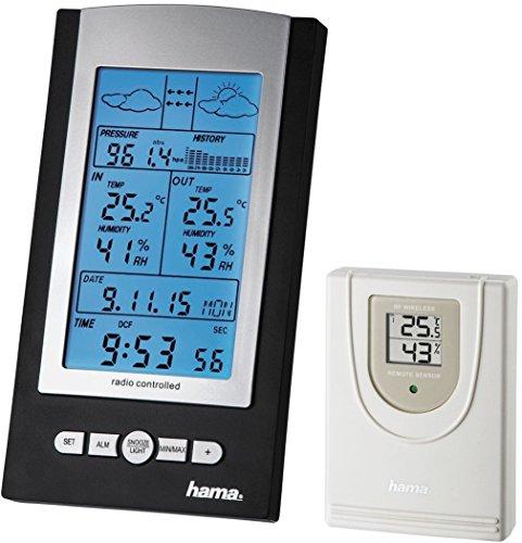 Hama-Funk-Wetterstation-EWS-800-Funkuhr-Thermometer-Hygrometer-und-Barometer-inkl-Auensensor-mit-100m-Reichweite-schwarz