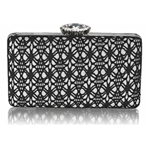 Womens Black Silver Satin Lace Clutch Bag Ladies Evening Handbag KCMODE