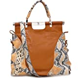 Women Lady Fashion Tall 2 Tone Python Embossed Tote Bag Handbag Black Accent