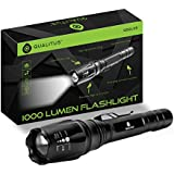 Qualitus 1000 Lumen Ultra Bright LED Tactical Flashlight - Rechargeable Battery, 525ft Range, Water Resistant & Shock Proof, Adjustable Focus, Self Defense Striking Bezel, Wall Charger Included