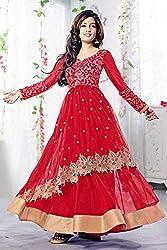 Bollywood Riya Sen Net Party Wear Anarkali Suit in Red Colour