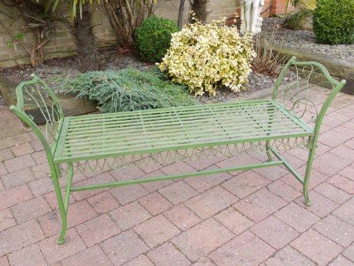 Antique GREEN Wrought Iron Garden Bench Stool Vintage