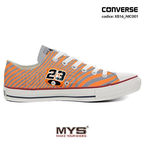 Converse personnalisée MOTO3 Niccolò Antonelli ALL STAR LOW CUSTOMIZED Orange Stripes