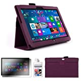 DURAGADGET Executive Purple Faux Leather Folio Case With Built In Stand Custom Designed For The Microsoft Surface 10.6 Inch Tablet (With Windows RT, 32GB, 64GB, Type Cover Keyboard) + FREE Gift: Screen Protector Worth £3.99 + BONUS Cleaning Cloths