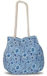 tote bags-Blue floral canvas ladies tote bag with rope handles