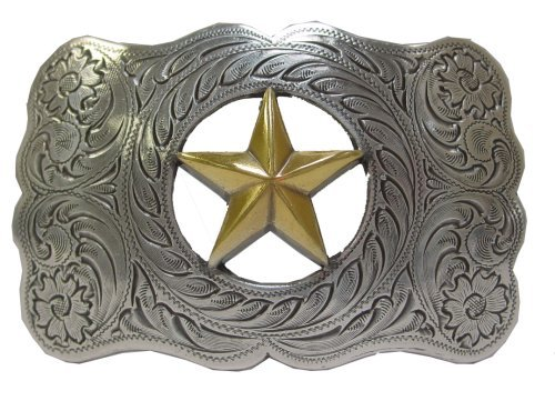Texas Star Ranger Western Silver Finish Belt Buckle.