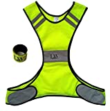 LW Reflective Biking Vest Running Cycling Walking Yellow Safety with Bonus Reflective band