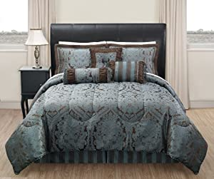 7 Piece King Manchester Jacquard Blue and Chocolate Comforter Set