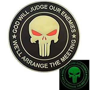 GOD WILL JUDGE OUR ENEMIES Glow Dark Punisher Crâne Seal Team 6 PVC Gomme 3D Velcro Écusson Patch