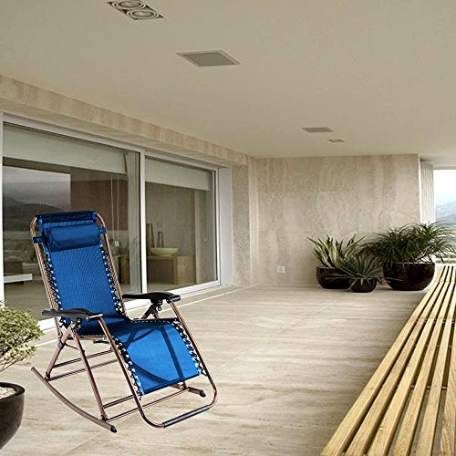 PARTYSAVING Infinity Zero Gravity Rocking Chair Outdoor Lounge Patio Folding