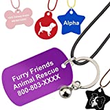 Pet ID Tags | 5 Shapes & Colors to Choose From | Dog Cat Aluminum | FREE Additional 1 Custom Picture Tag + 3 Accessories ( String, Ring Bell, Bucket)