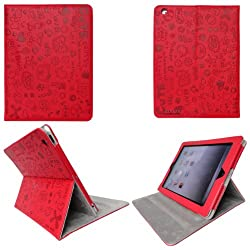 iPad 2 Smart Cute PU Leather Case LW-RE (Red)