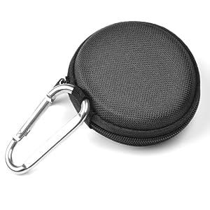 Case Star ® Black EVA Earphone Earbuds Case - Clamshell Style + Silver Climbing Carabiner with Case Star velvet Bag