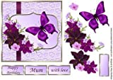 Burgundy and Lilac Flowers decoupage card by Mary MacBean