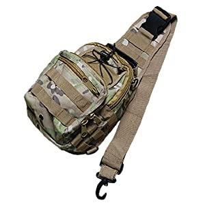 Fishing Mesh Back Camouflage Print Chest Pack Bag Light Green for Men by sourcingmap