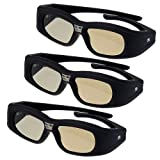 3 Pack Rechargeable Brand New 3D active DLP-Link glasses For Optoma, Acer, BenQ, NEC, ViewSonic, Sharp, Dell