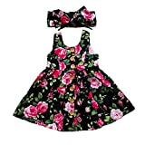 GRNSHTS Baby Girls Flower Print Buttons Ruffles Dress with Headband (80 cm / 6-12 Months, Black)