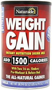 Naturade Weight Gain Instant Nutrition Drink Mix, Vanilla, 38.94 Ounce