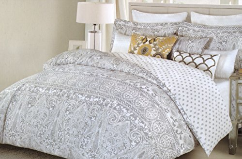 Nicole Miller Boho Chic Bedding Grey Bohemian Paisley Duvet Cover Set 3pc Large Moroccan Damask Medallion