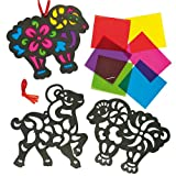 Year of the Sheep Stained Glass Decorations for Children to Create and Hang (Pack of 6)