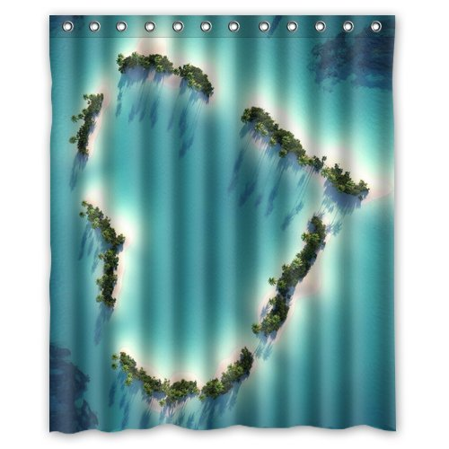 Custom Unique Design Red Heart Love Waterproof Fabric Shower Curtain, 72 By 60-Inch front-445997