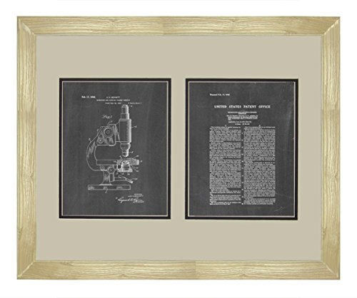 "Microscope And Counting Chamber Patent Art Chalkboard Print In A Natural Raw Wood Frame (16"" X 20"")"