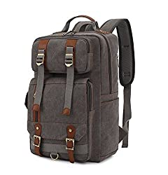 BLUBOON Rucksack Vintage Backpacks Canvas School Unisex Bags with Large Capacity for Outdoor/Hiking/College (Grey)