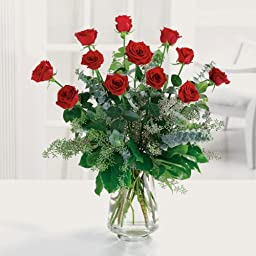 12 Stems Red Birthday Roses (With a Free Vase)