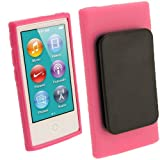 IGadgitz Pink 'Clip'n'Go' Durable Crystal Gel Skin (TPU) Case Cover for Apple iPod Nano 7th Generation 7G 16GB with Integrated Sports Clip + Screen Protector