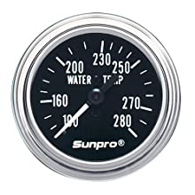 Sunpro CP7975 Mechanical Water Temperature Gauge - Black Dial