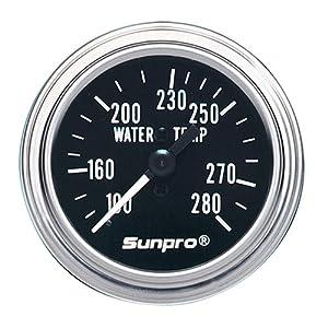 Sunpro CP7975 Mechanical Water Temperature Gauge - Black Dial