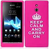 Cooltechstuff Hot Pink White Keep Calm And Carry On Silicone Gel Soft Case Cover And Skin For Sony Ericsson Xperia P LT22i