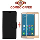 #10: Redmi 4 Flip Cover - For Luxury Mercury Diary Wallet Style Black Flip Cover Case for (Redmi 4 - May 2017 Launch) Redmi 4 Flip Cover + Premium 2.5D Curved 9H Hardness Tempered Glass screen protector (Black-Gold)