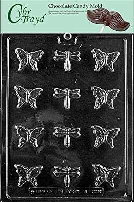 Cybrtrayd A128 Bite Size Butterfly and Dragonfly Chocolate Candy Mold with Exclusive Cybrtrayd Copyrighted Chocolate Molding Instructions