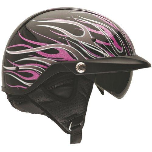 Bell Flames Pit Boss Harley Cruiser Motorcycle Helmet - Pink / Medium