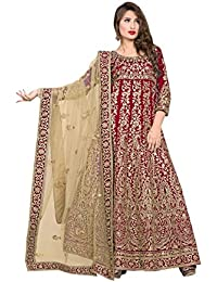 Kryptos Online Women Banglori Silk Semi Stitch Embroidery Anarkali Suit_KRYON-560-Isha-10704_Red