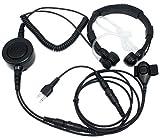 ican®2ピン軍用タクティカル・スロートマイク ヘッドセット/大きな指PTT付きイヤホン for ミッドランド アイコム ラジオGxt700 Gxt800 Gxt900(5個セット) ican w494a