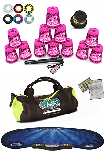 """Speed Stacks Custom Combo Set - The Works: 12 ZIPPY PINK LEOPARD 4"""" Cups, Cup Keeper, Quick Release Stem, Pro Timer, Gen 3 Mat, 6 Snap Tops, Gear Bag & $100 Design Magnetic Credit Card Size Address Book"""