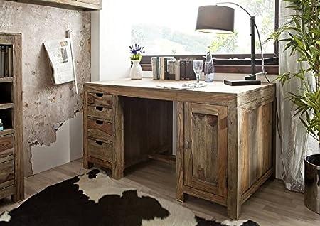 Palisander massiv Holz Schreibtisch Sheesham Möbel Nature Grey #70