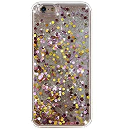 iPhone 6S Case,NSSTAR iPhone 6 Case,iPhone 6S Liquid Case,Fashion Creative Design Flowing Liquid Floating Bling Glitter Sparkle Circular Hexagon Hard Case for Apple iPhone 6S (2015)/ iPhone 6 (2014)