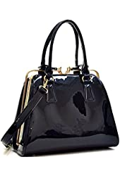Dasein Faux Leather Structured Satchel Shoulder Handbag