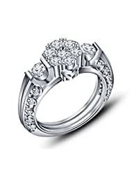 14k White Gold Over Round Cut Engagement Ring .925 Sliver White CZ Form Vorra Fashion