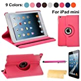 Foxnovo® 4-in-1 360-degree Rotating Stand Smart PU Flip Case Stylus Pen Screen Guard Cloth Set for iPad mini (Rosy)