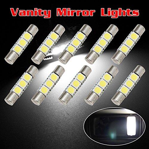 Partsam 29mm Festoon 5050 SMD LED Lights Car Interior Vanity Mirror Sun Visor Lamp Bulbs , White, Pack of 10 (2007 Nissan Murano Sun Visor compare prices)