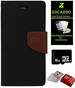 Zocardo Fancy Diary Wallet Flip Case Cover For Samsung Galaxy Note 3 Neo -Black + Glass Screen Protector+ 8 Gb Memory Card+ Mem Card Reader