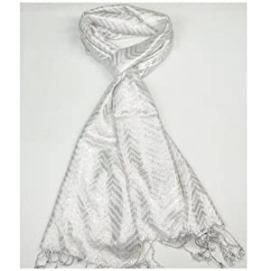 Clothing & Accessories Lovarzi White Glittering Pashmina - Stylish party scarf for women
