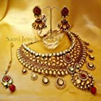 Necklaces - Paisley Pattern Kundan Half Bridal Set