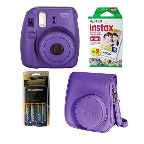 Fujifilm Instax Mini 8 Instant Film Camera (Grape) 4 PC Deluxe Bundle Accessory Kit (Mini Instax 8 Grape Kit compare prices)
