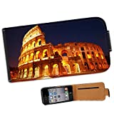 Roman Colosseum in Rome Italy Leather Flip Case Cover for Apple iPhone 4 / iPhone 4S