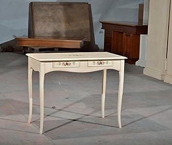 Bureau console table finition col Ivoire patine en bois décoré